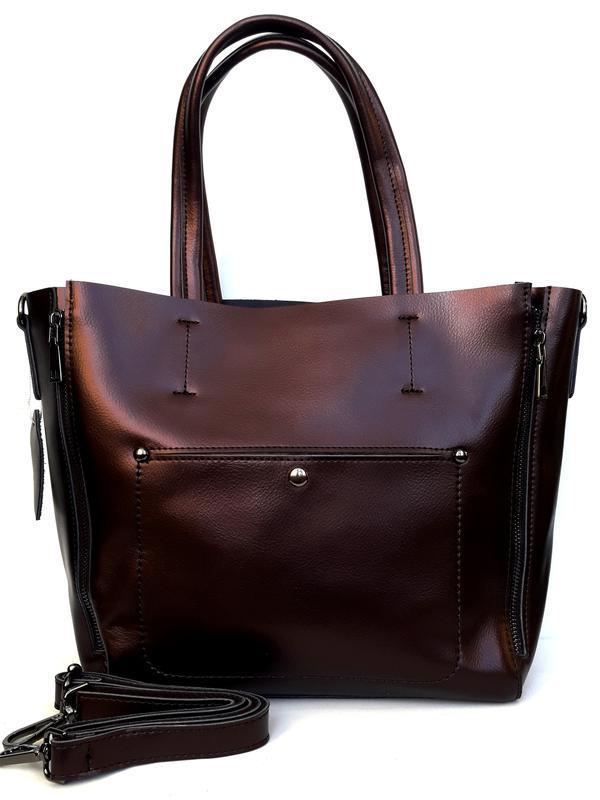 """Женская кожаная сумка """"envelope"""" коричневая"""