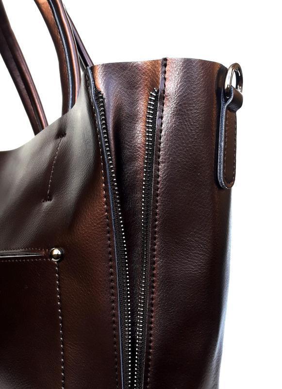 """Женская кожаная сумка """"envelope"""" коричневая - Фото 2"""