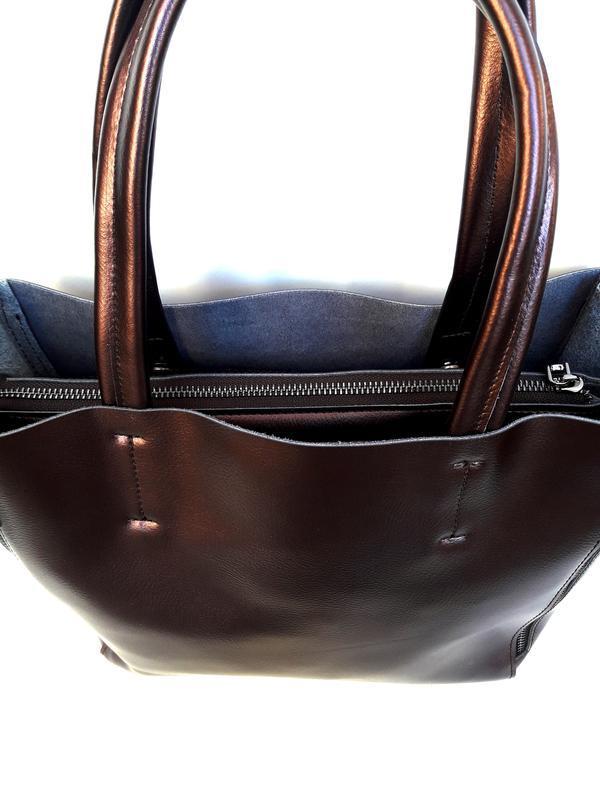 """Женская кожаная сумка """"envelope"""" коричневая - Фото 3"""