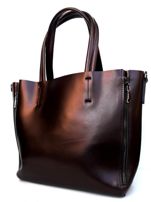 """Женская кожаная сумка """"envelope"""" коричневая - Фото 5"""