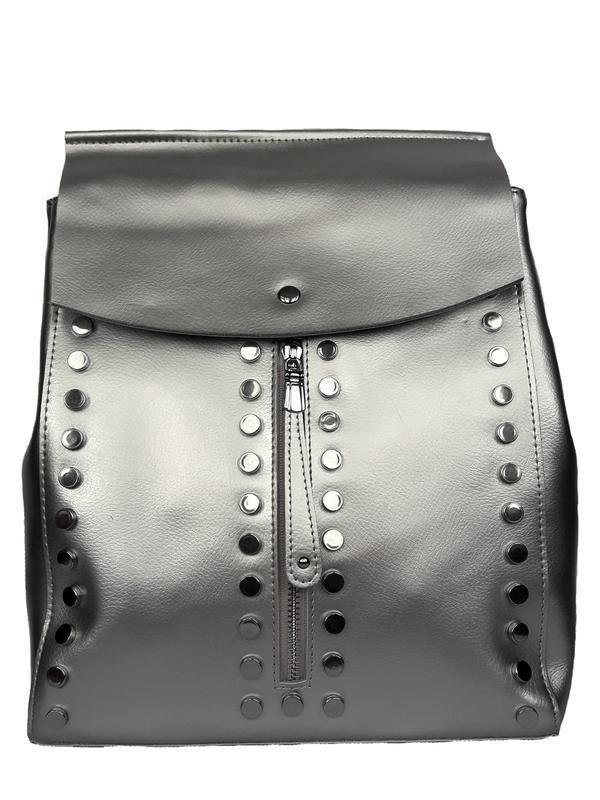 """Женский кожаный рюкзак """"steely"""" серебряный"""