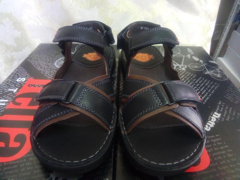 Чёрные кожаные сандалии на липучках detta распродажа!41,42,43,... - Фото 2