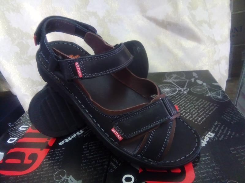 Чёрные кожаные сандалии на липучках detta распродажа!41,42,43,... - Фото 3