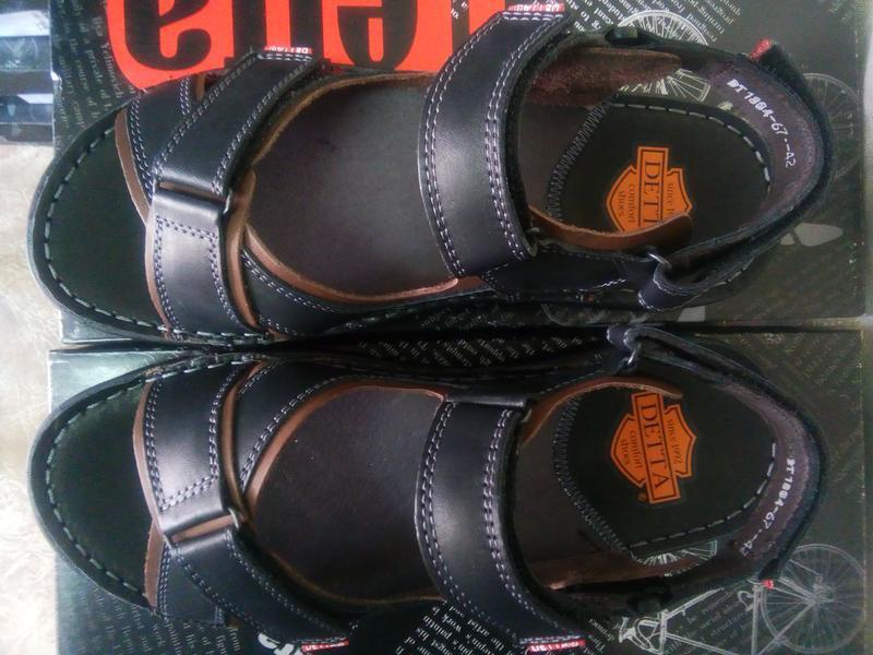 Чёрные кожаные сандалии на липучках detta распродажа!41,42,43,... - Фото 5