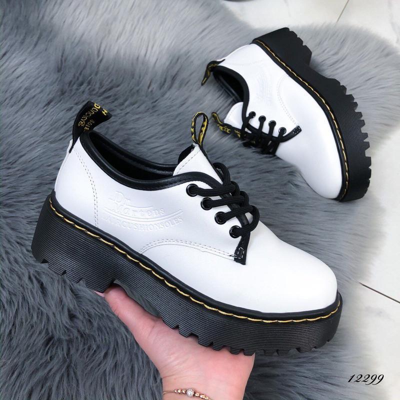 Туфли женские белые на высокой подошве - Фото 6