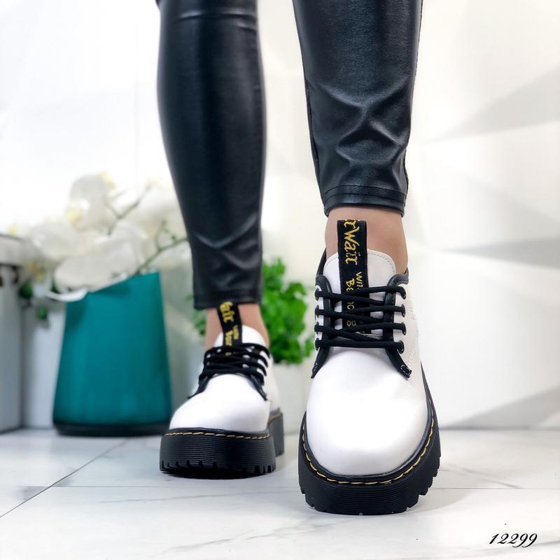 Туфли женские белые на высокой подошве - Фото 7