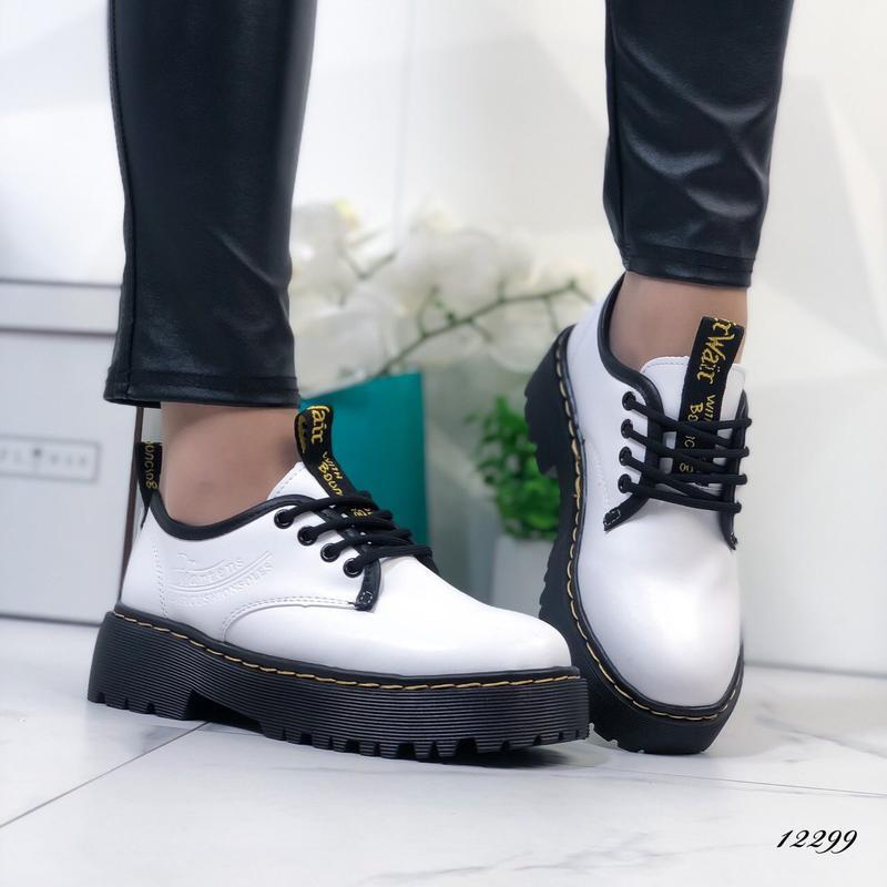 Туфли женские белые на высокой подошве - Фото 8