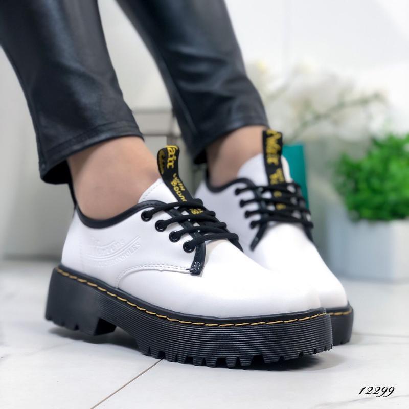 Туфли женские белые на высокой подошве - Фото 10