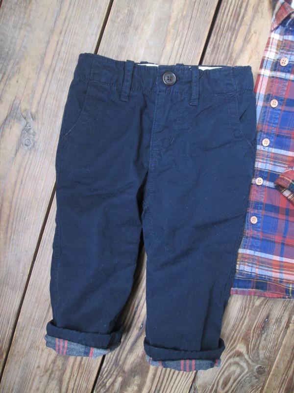 Теплые штаны джинсы gap на 12-18 мес, брюки на байковом подкла...