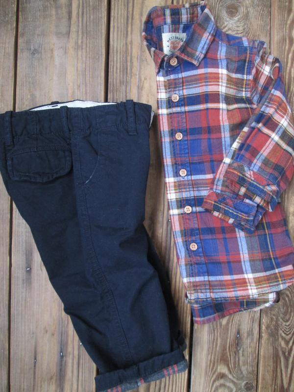 Теплые штаны джинсы gap на 12-18 мес, брюки на байковом подкла... - Фото 6