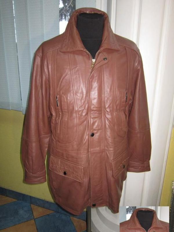 Утеплённая  стильная кожаная мужская куртка. лот 330