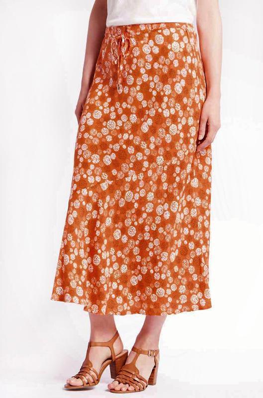 Легкая юбка а-силуэта с принтом из вискозы р.22 - Фото 2