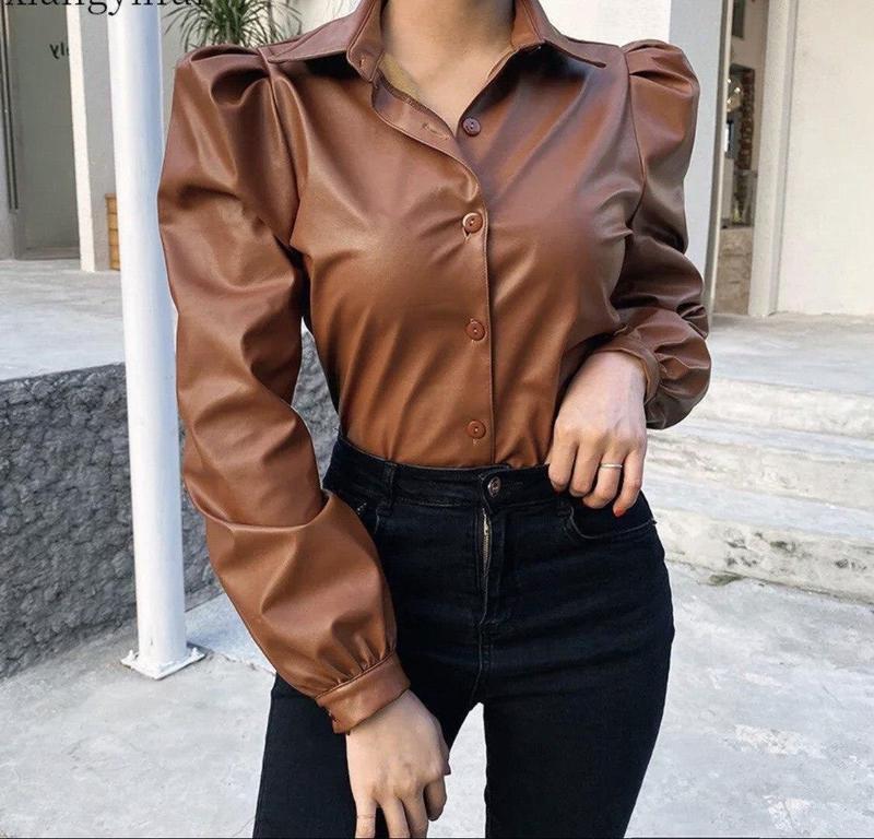 Рубашка с эко кожи - Фото 2