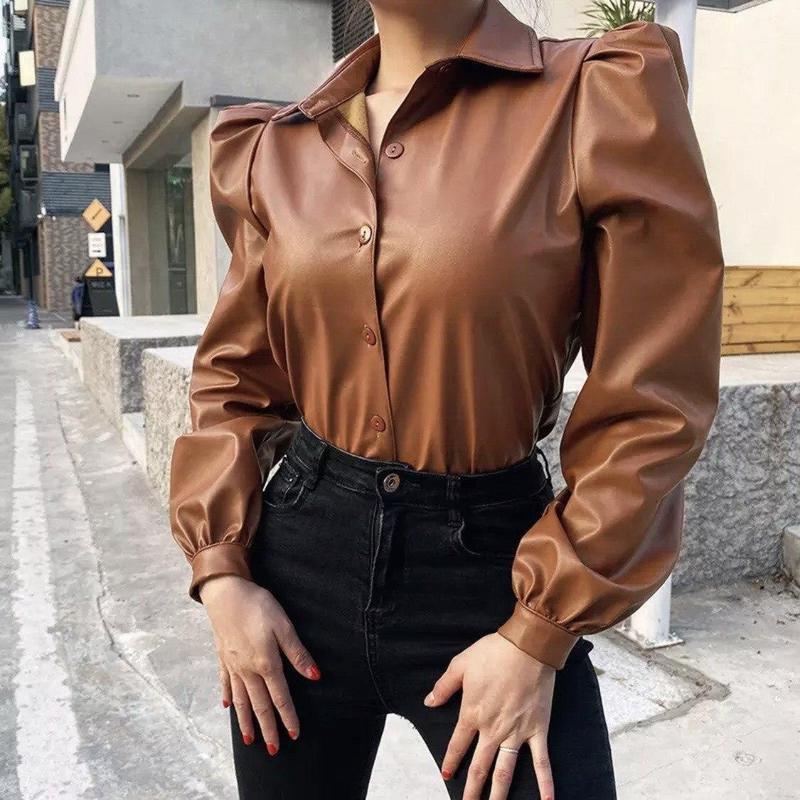 Рубашка с эко кожи - Фото 3