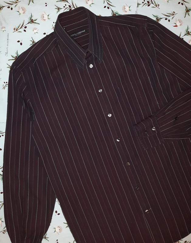 🎁1+1=3 шикарная темная мужская приталенная рубашка dolce&gabba... - Фото 2