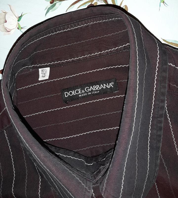 🎁1+1=3 шикарная темная мужская приталенная рубашка dolce&gabba... - Фото 8