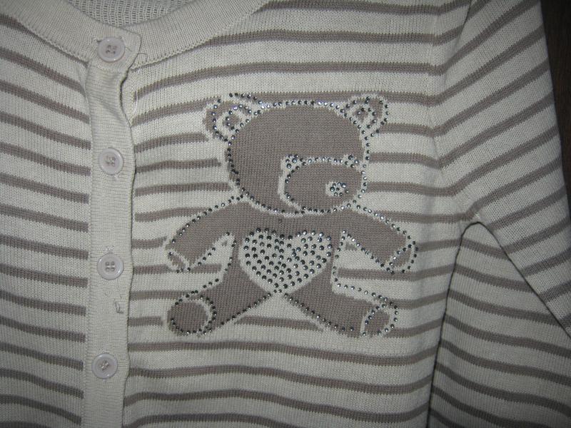 Модная кофточка в полоску с мишками/со стразиками - Фото 2