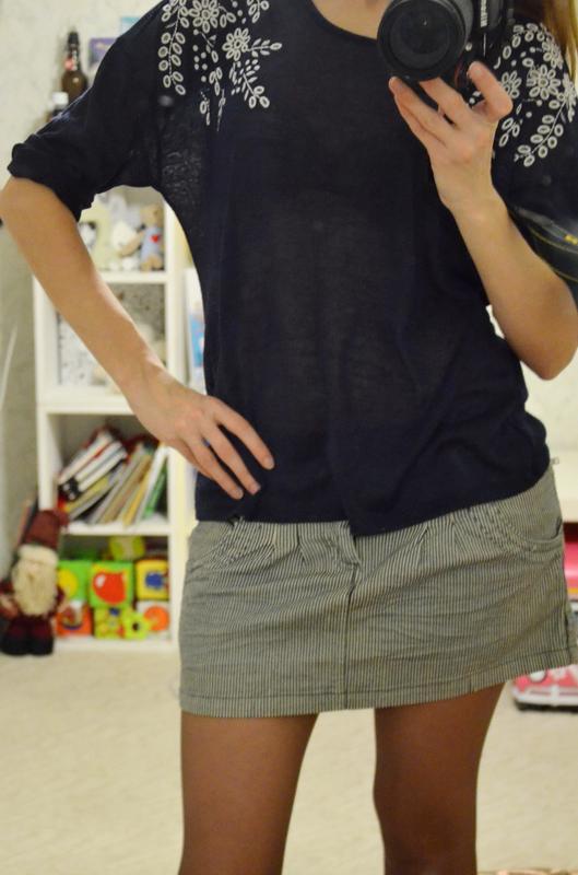 Джинсовая мини-юбка в полоску stradivarius - Фото 3
