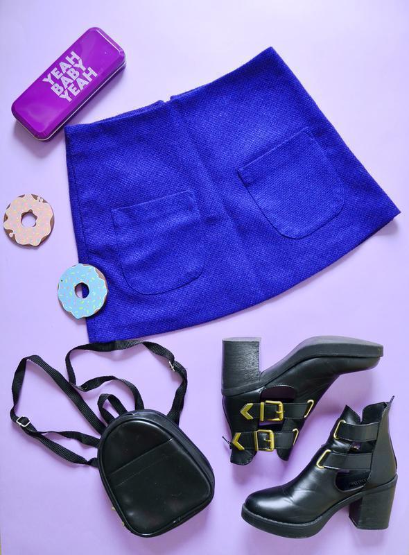 Стильная трапеция с карманами цвета ультрамарин