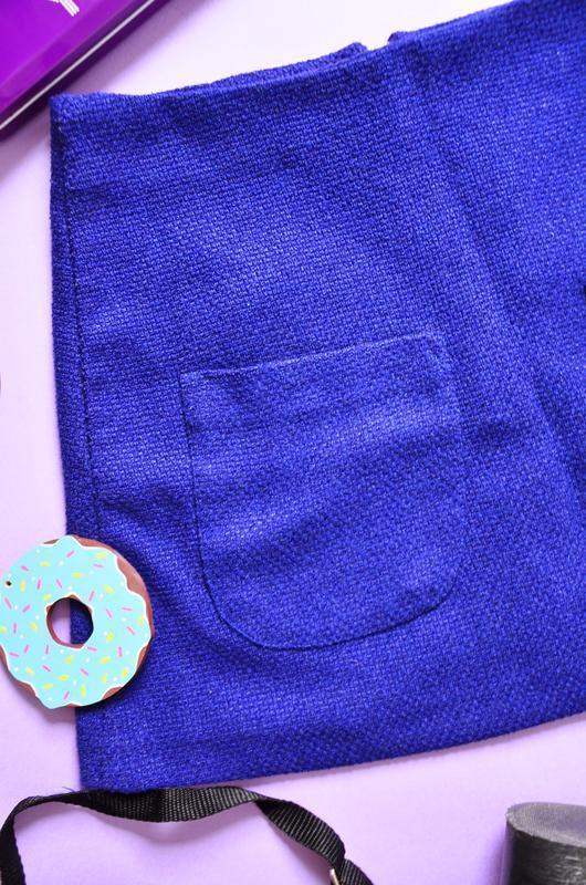 Стильная трапеция с карманами цвета ультрамарин - Фото 2