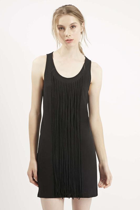 Черное фестивальное платье с бахромой от topshop
