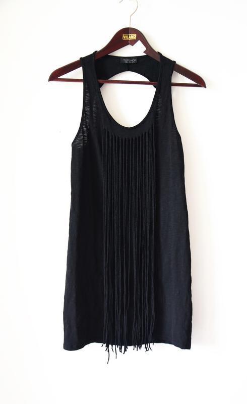 Черное фестивальное платье с бахромой от topshop - Фото 3
