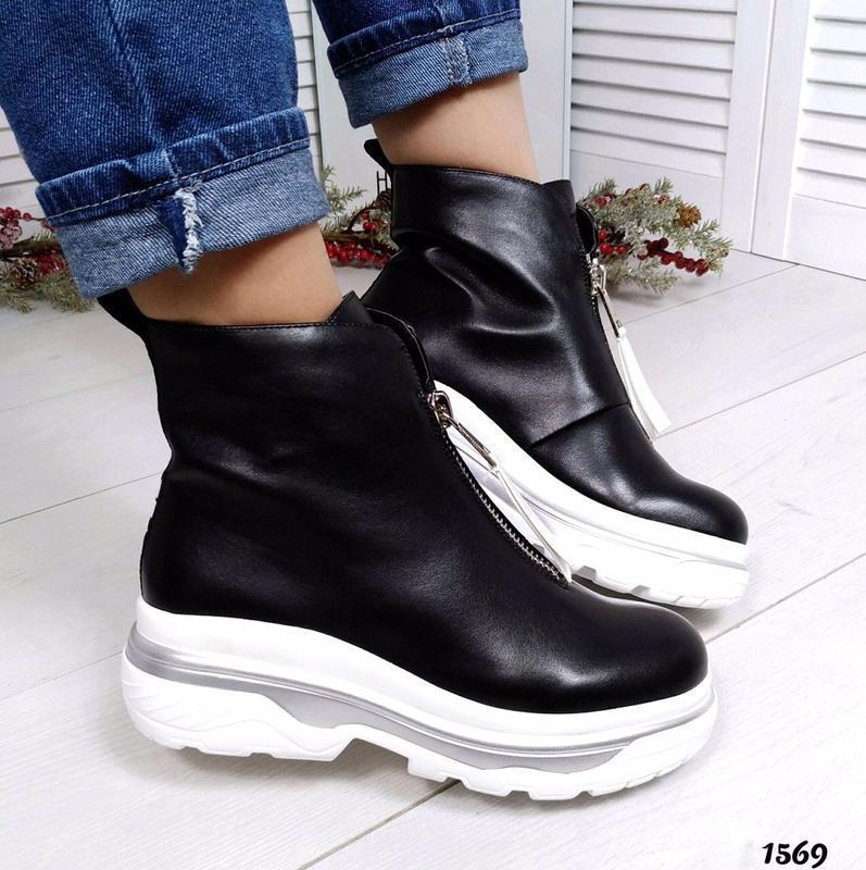 Шикарные кожаные демисезонные черные ботинки. - Фото 2