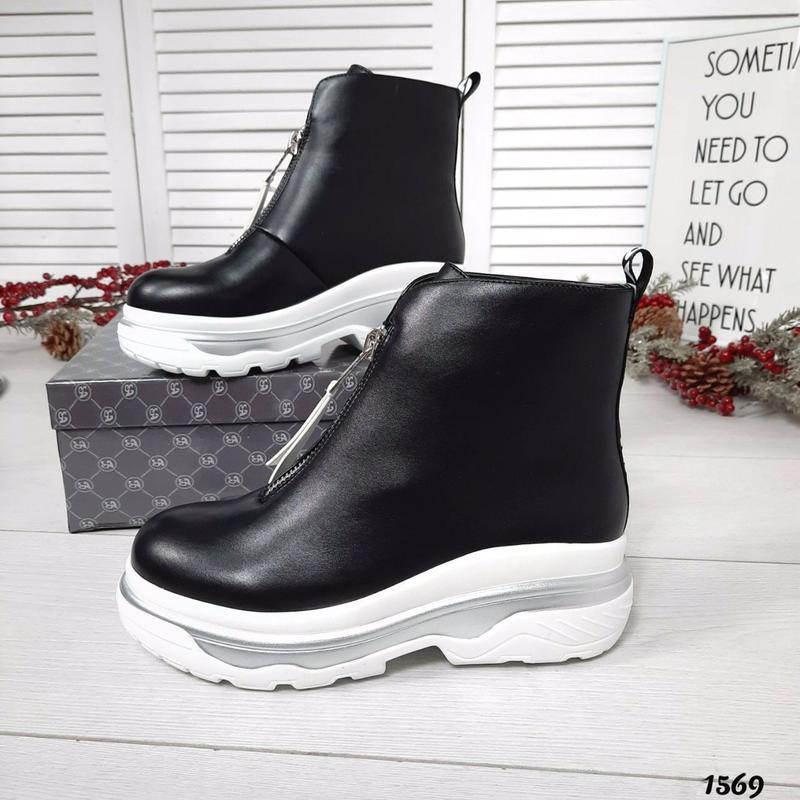 Шикарные кожаные демисезонные черные ботинки. - Фото 5
