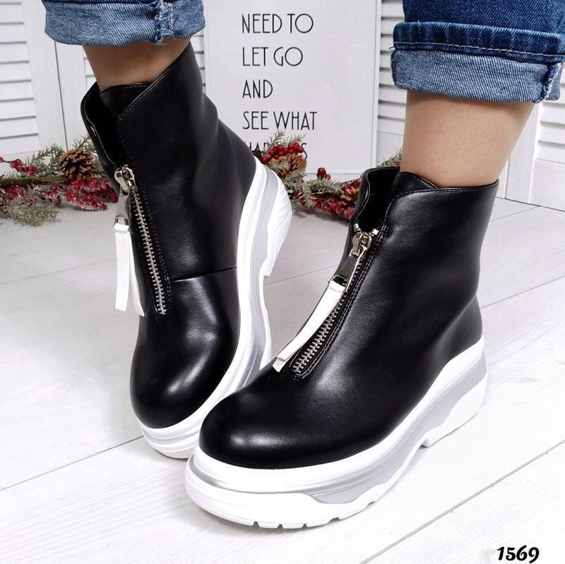 Шикарные кожаные демисезонные черные ботинки. - Фото 6