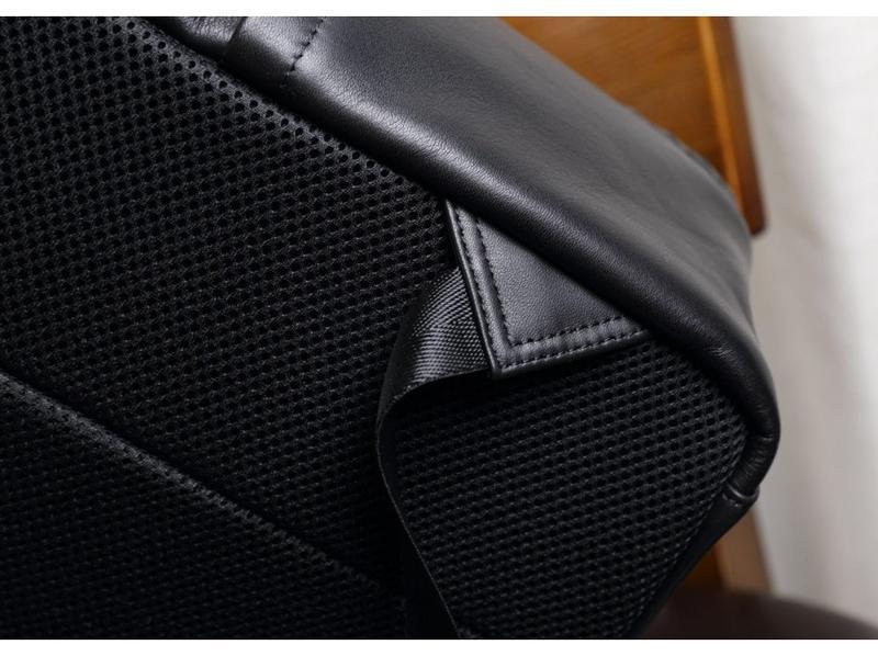 Мужской кожаный рюкзак стильный casual анатомическая дышащая с... - Фото 5