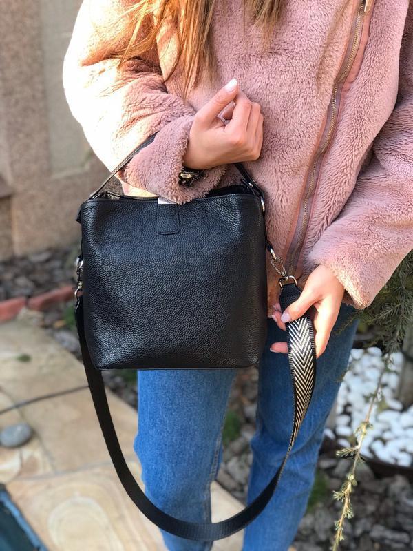 Женская кожана сумка farfalla rosso с широким ремешком жіноча ... - Фото 2