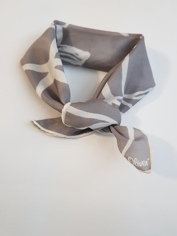 Шелковый серый платок косынка шарф натуральный шелк - Фото 2