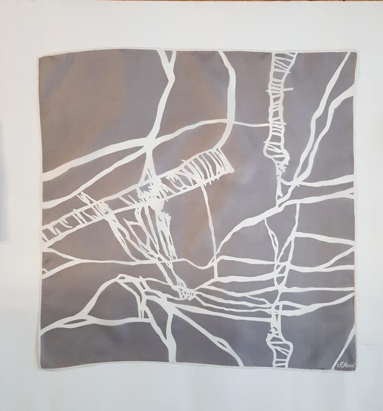 Шелковый серый платок косынка шарф натуральный шелк - Фото 4