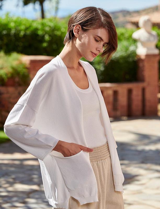 Кардиган белого цвета с карманами  marina v, франция