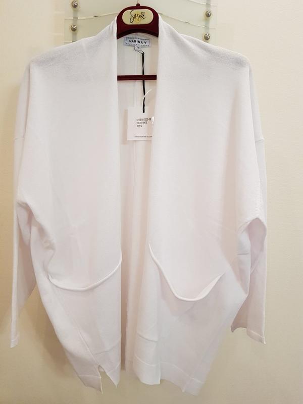 Кардиган белого цвета с карманами  marina v, франция - Фото 2