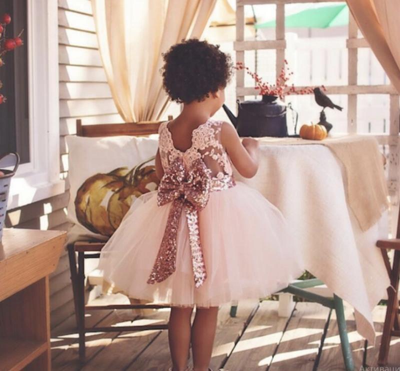 Платье для принцессы паетки модное шикарное кружево