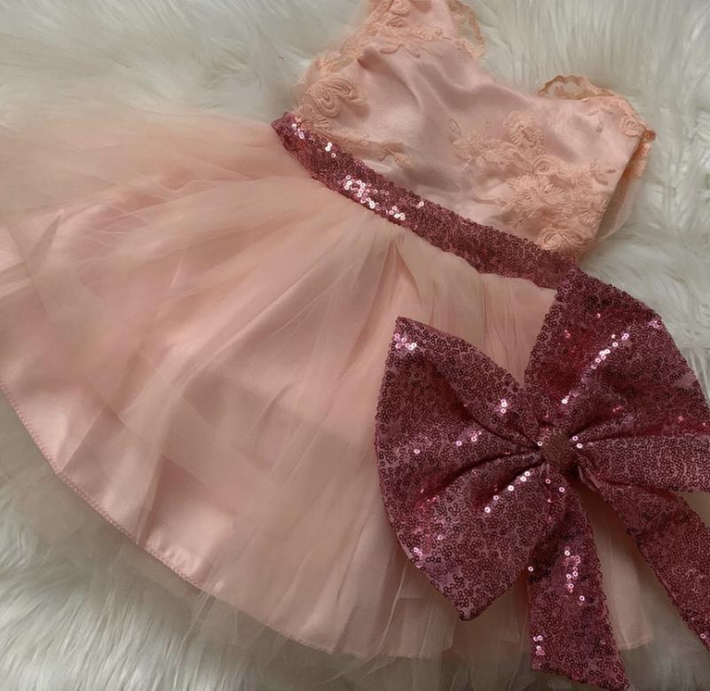 Платье для принцессы паетки модное шикарное кружево - Фото 2