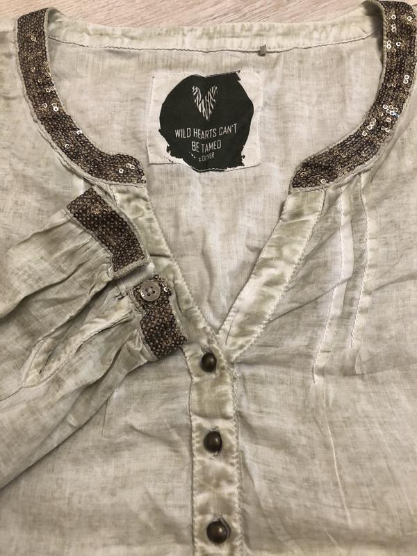 Шикарная блуза натуральная ткань паетки s.oliver размер с-м - Фото 4
