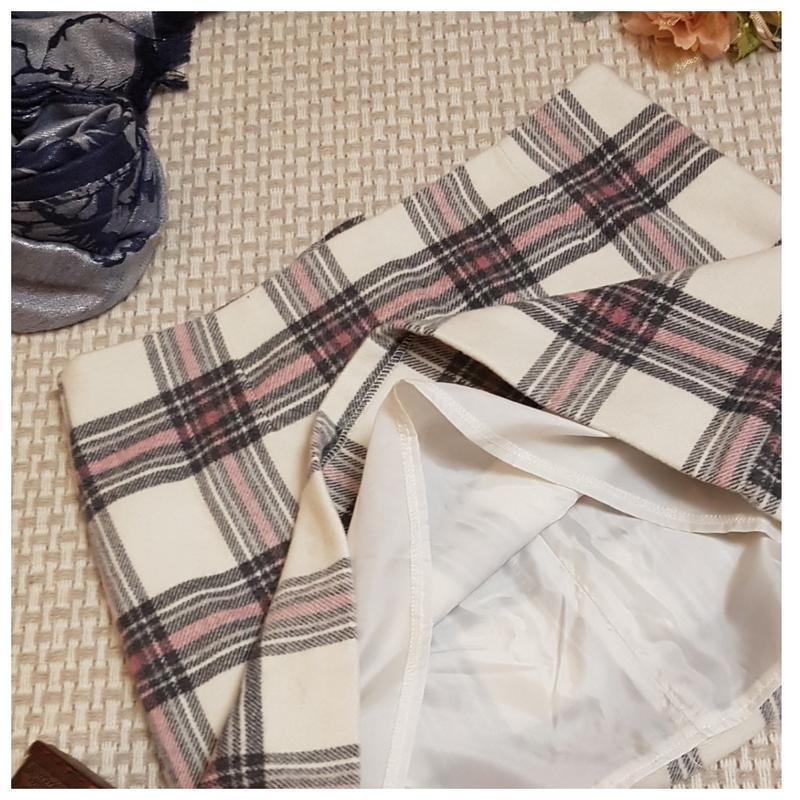 Теплая юбка new look/клетка/мини юбка/шерсть - Фото 3