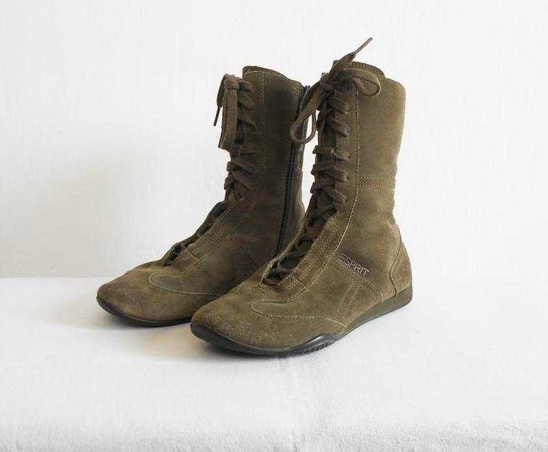 Замшевые кожаные осенние высокие спортивные  ботинки - Фото 2