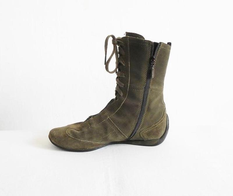 Замшевые кожаные осенние высокие спортивные  ботинки - Фото 5