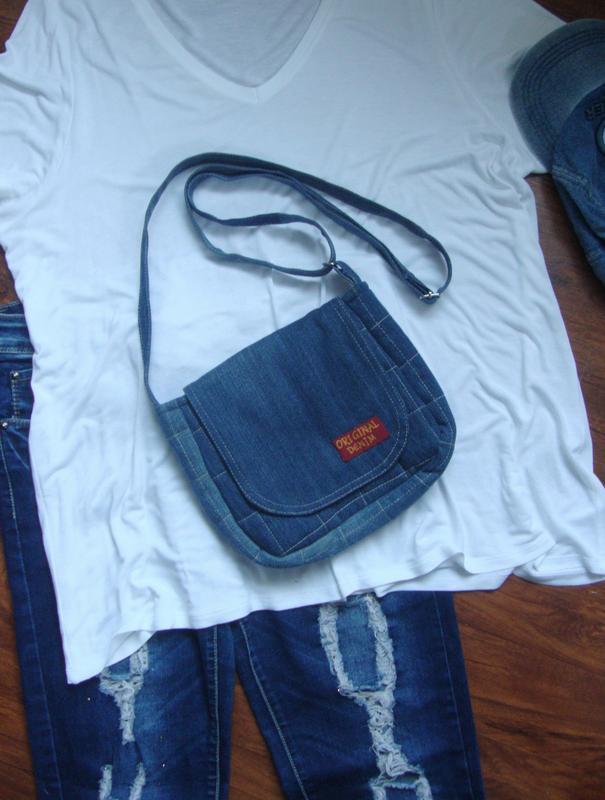 Джинсовая сумка через плечо маленькая