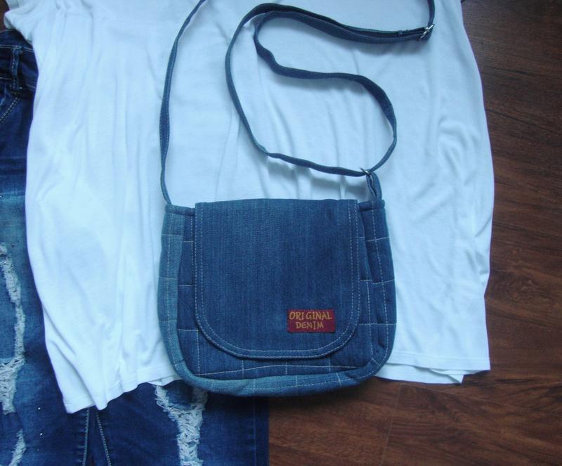 Джинсовая сумка через плечо маленькая - Фото 2