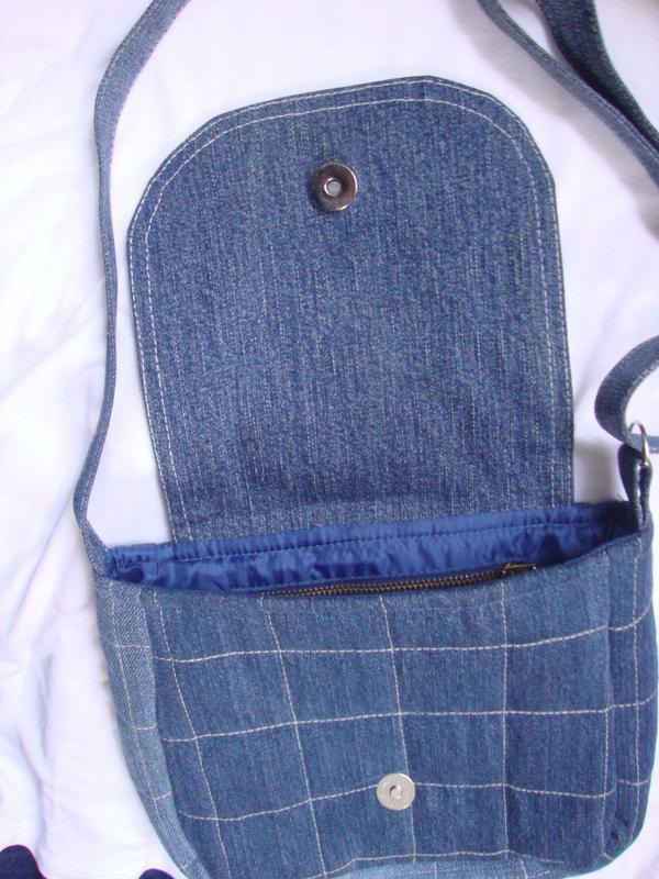 Джинсовая сумка через плечо маленькая - Фото 3