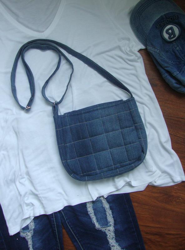 Джинсовая сумка через плечо маленькая - Фото 4