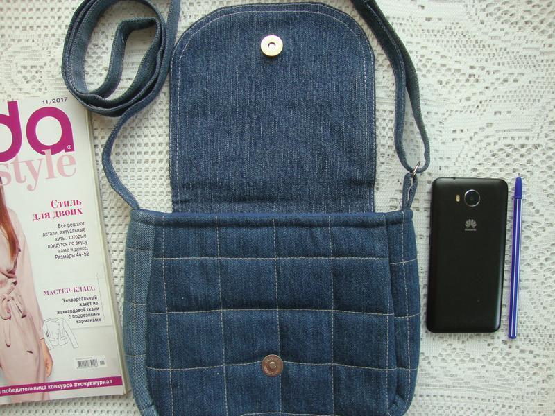 Джинсовая сумка через плечо маленькая - Фото 5