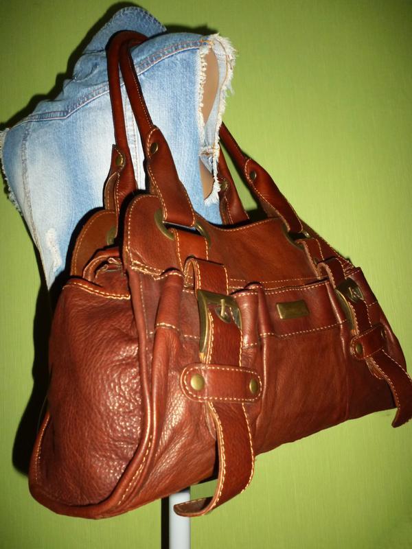 Стильная сумка натуральная кожа firenze италия - Фото 6