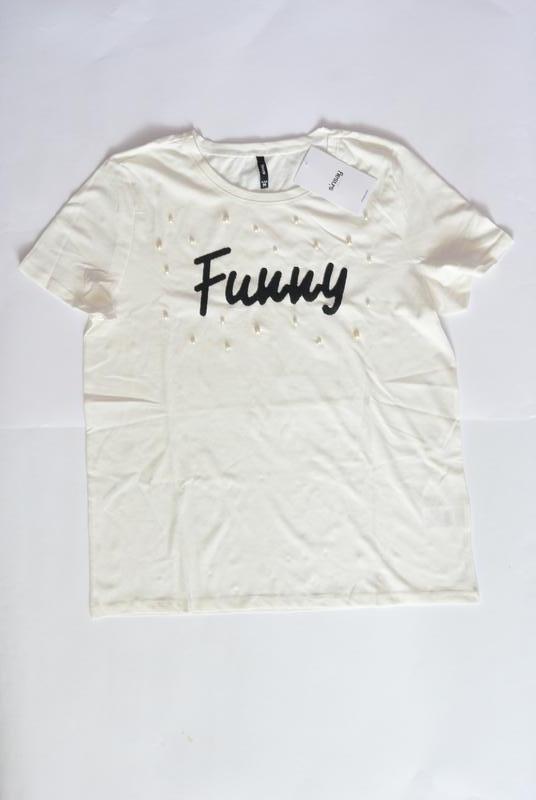 10-57 жіноча футболка sinsay з написом funny женская футболка - Фото 4