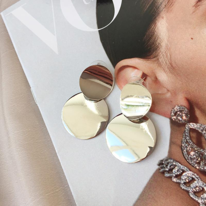 Серьги, сережки, кульчики, стильные, круглые, круглі, металл - Фото 3