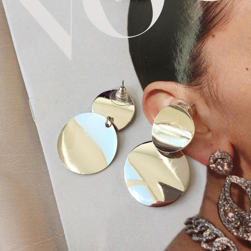 Серьги, сережки, кульчики, стильные, круглые, круглі, металл - Фото 4